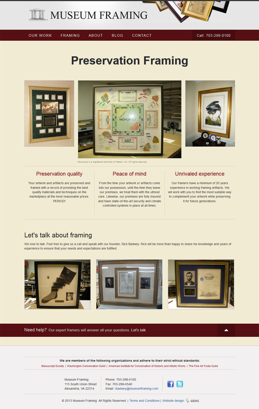 Framing Website Design - Museum Framing | GEMI | Washington D.C.